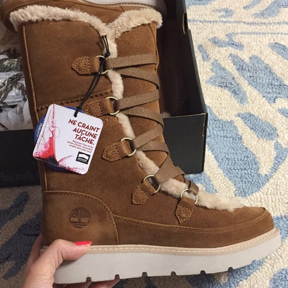 discount Timberland ladies tall lace up snow boots US EUC